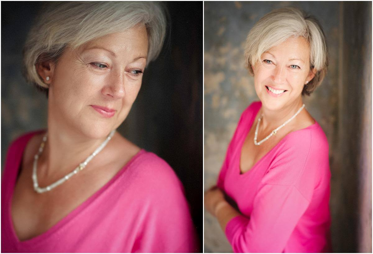 flattering pink jumper old woman
