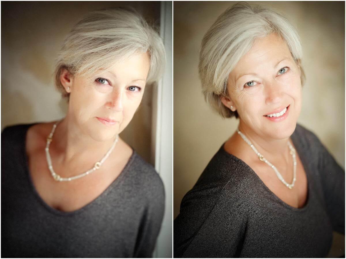 neutral grey top looks good on older woman