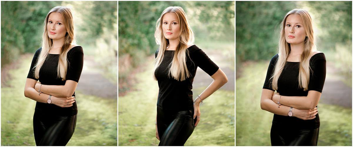 black leather jeans and top for headshot