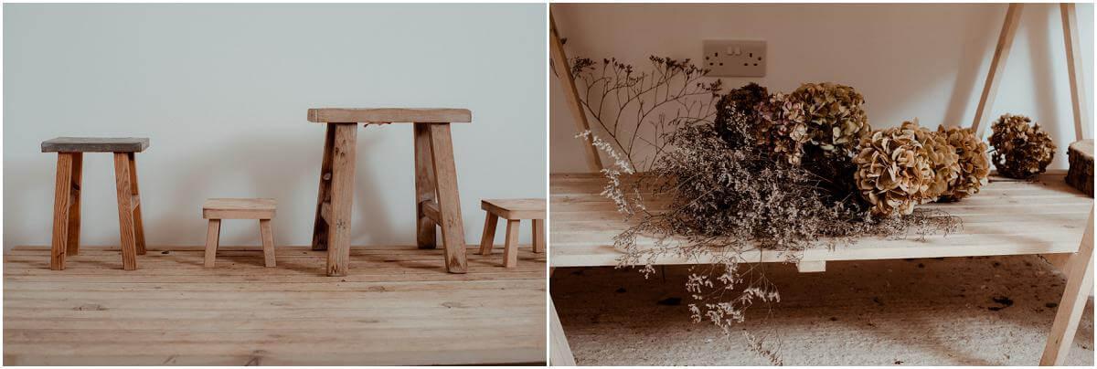 wooden stool in florist