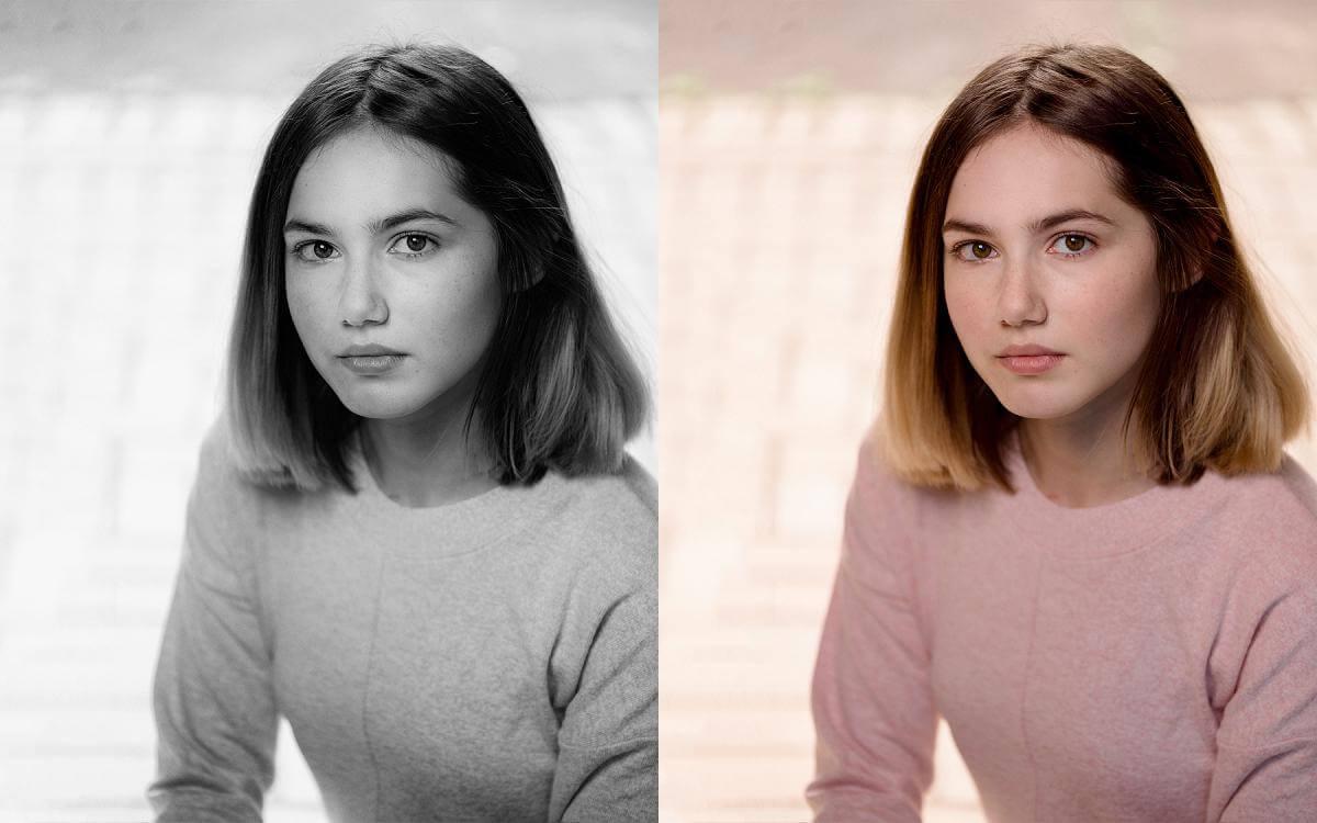 female actor headshot pink jumper