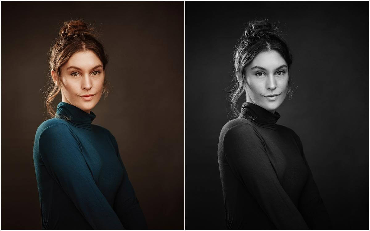 female actor in blue roll neck top